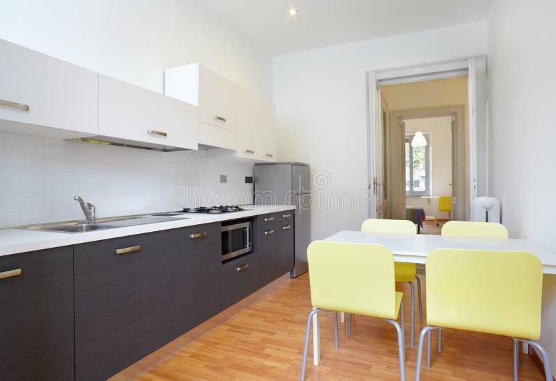 Moderne keuken in nieuwe flat royalty-vrije stock afbeelding