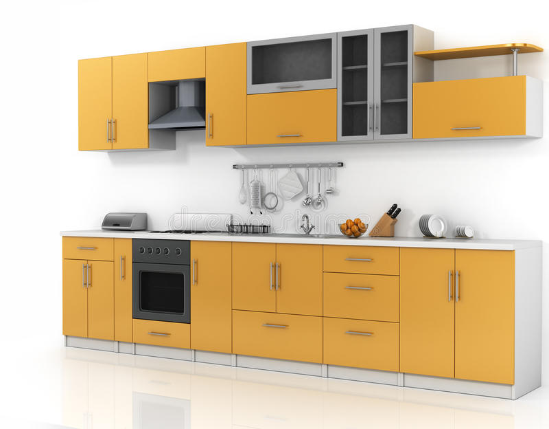 Moderne keuken op de witte achtergrond royalty-vrije illustratie