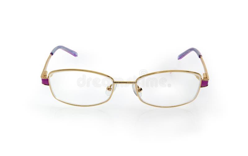 Moderne klassische Brillen für Frauen im gelbes Metallrahmen lizenzfreie stockfotos