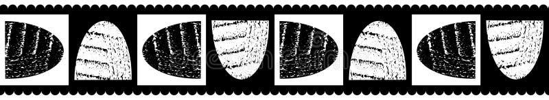 Moderne klassische nahtlose Vektorgrenze von gedrehten strukturierten Schüsselformen mit schwarzem ausgebogtem Rand, Schwarzweiss stock abbildung