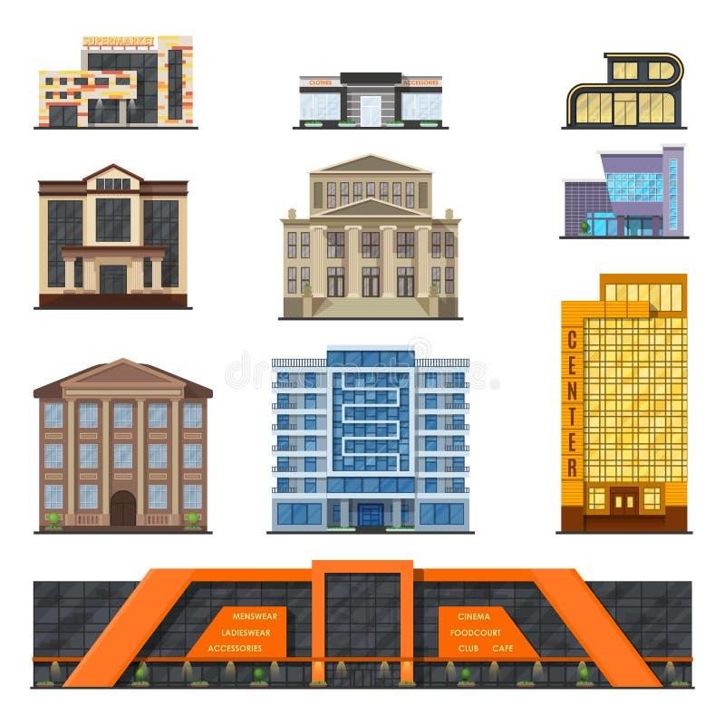 Moderne klassische Sozialstationen der flachen Art konfrontieren, Fassadenstadt-Designvektor stock abbildung