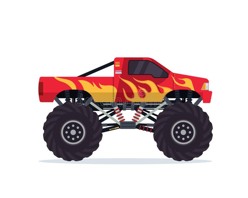 Moderne Kleurrijke Aangepaste het Voertuigillustratie van de Monstervrachtwagen royalty-vrije illustratie