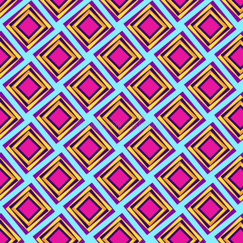 Moderne kleurrijke diamanten die patroon herhalen stock illustratie