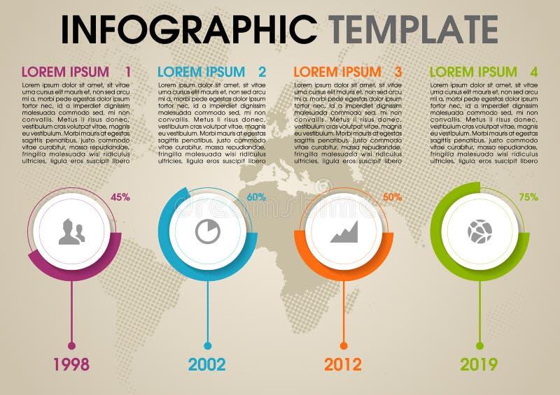 Moderne kleurrijke het malplaatjevector van infographicsopties met cirkel en wereld gestippelde kaart stock illustratie