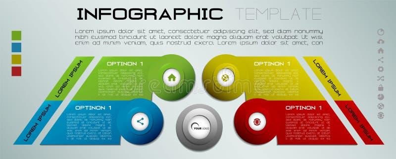 Moderne kleurrijke het malplaatjevector van infographicsopties met colorf royalty-vrije illustratie