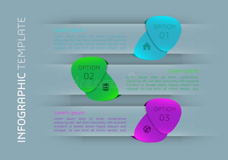 Moderne kleurrijke het malplaatjevector van infographicsopties met vleugels stock illustratie