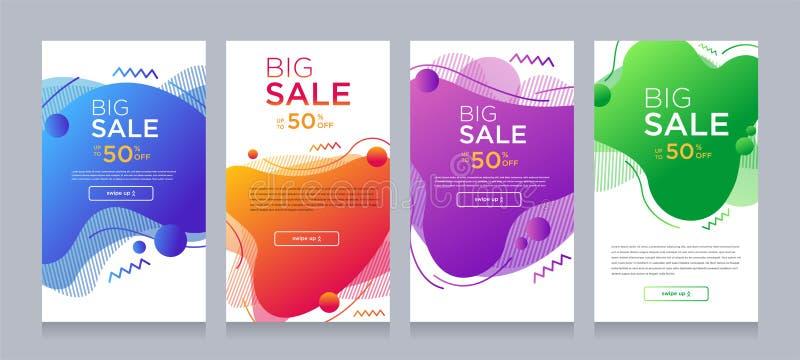 Moderne kleurrijke vloeibare mobiel voor de banners van de flitsverkoop met dynamische vorm Het malplaatjeontwerp van de verkoopb royalty-vrije illustratie
