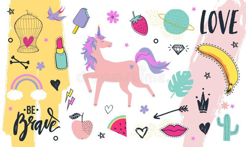 Moderne Kollektion von dekorativen Designelementen, handgezeichnet im trendigen Doodle-Stil - Früchte, Tiere, Pflanzen, Symbole lizenzfreie abbildung