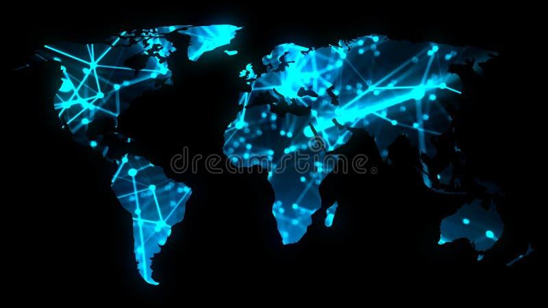 Moderne Kommunikationsnetzkarte der Welt auf dunklem Hintergrund, Wiedergabe 3D vektor abbildung