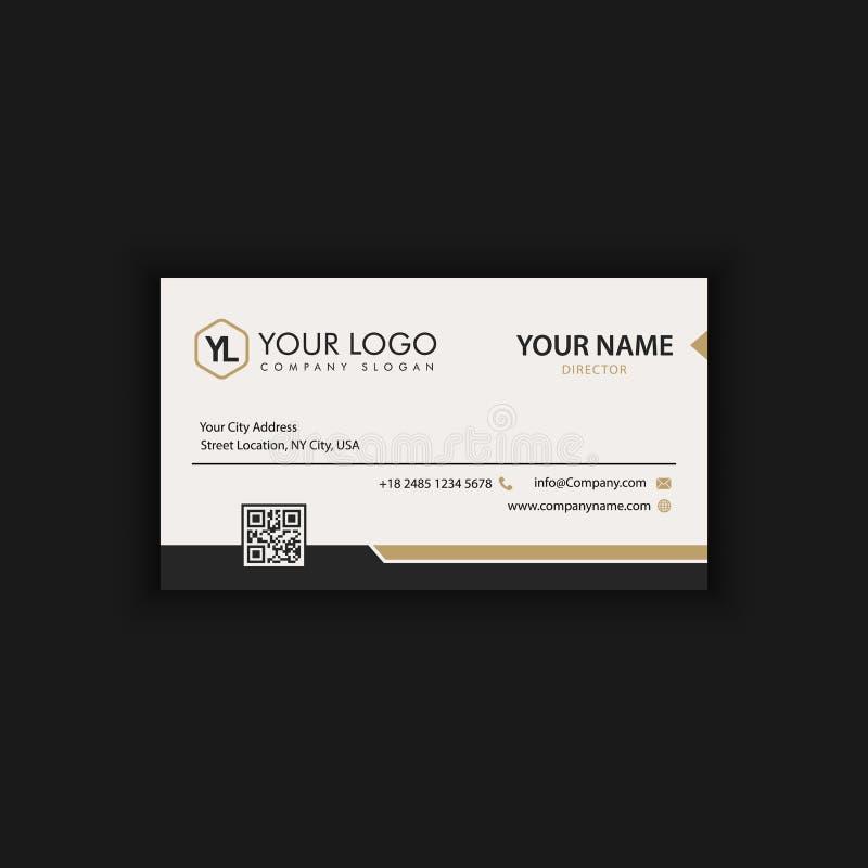 Moderne kreative und saubere Visitenkarte-Schablone mit Golddunkelheit stock abbildung