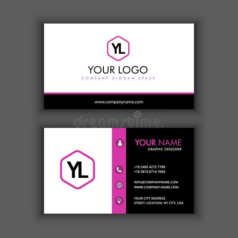 Moderne kreative und saubere Visitenkarte-Schablone mit purpurrotem Schwarzem lizenzfreie abbildung