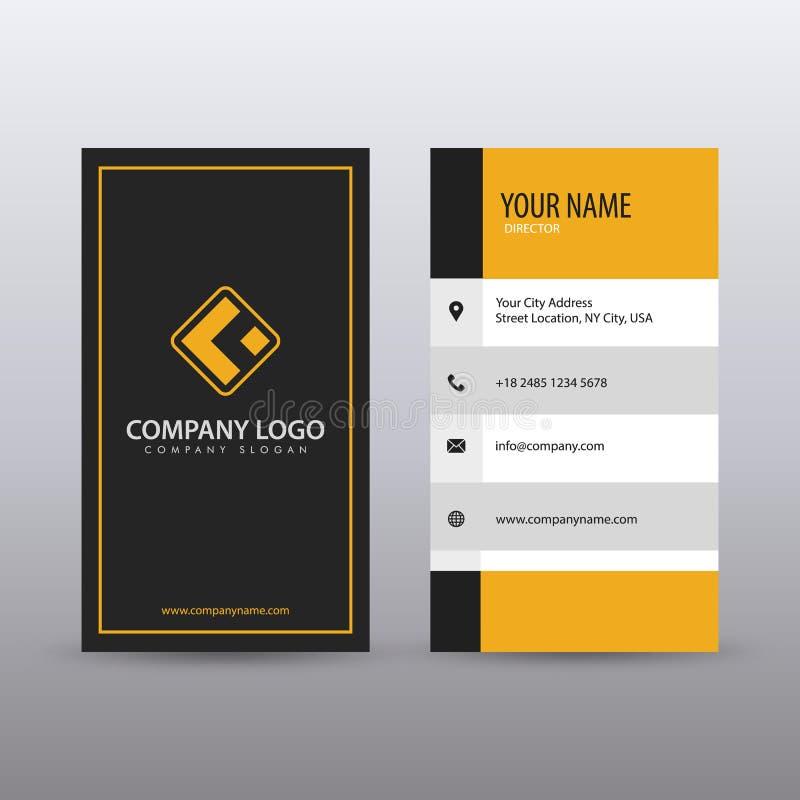 Moderne kreative vertikale saubere Visitenkarte-Schablone mit gelber schwarzer Farbe V?llig editable lizenzfreie abbildung