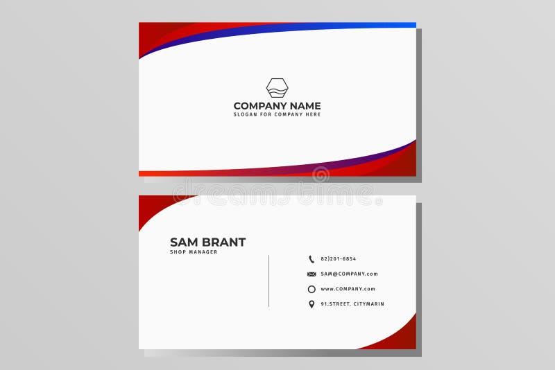 Moderne kreative Visitenkarte- und Namenkarte, horizontales einfaches sauberes Schablonenvektordesign, Plan in der Rechteckgröße lizenzfreie abbildung