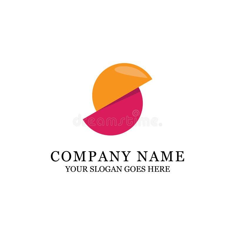 Moderne Kreisorange und purpurroter Logoentwurf lizenzfreie abbildung