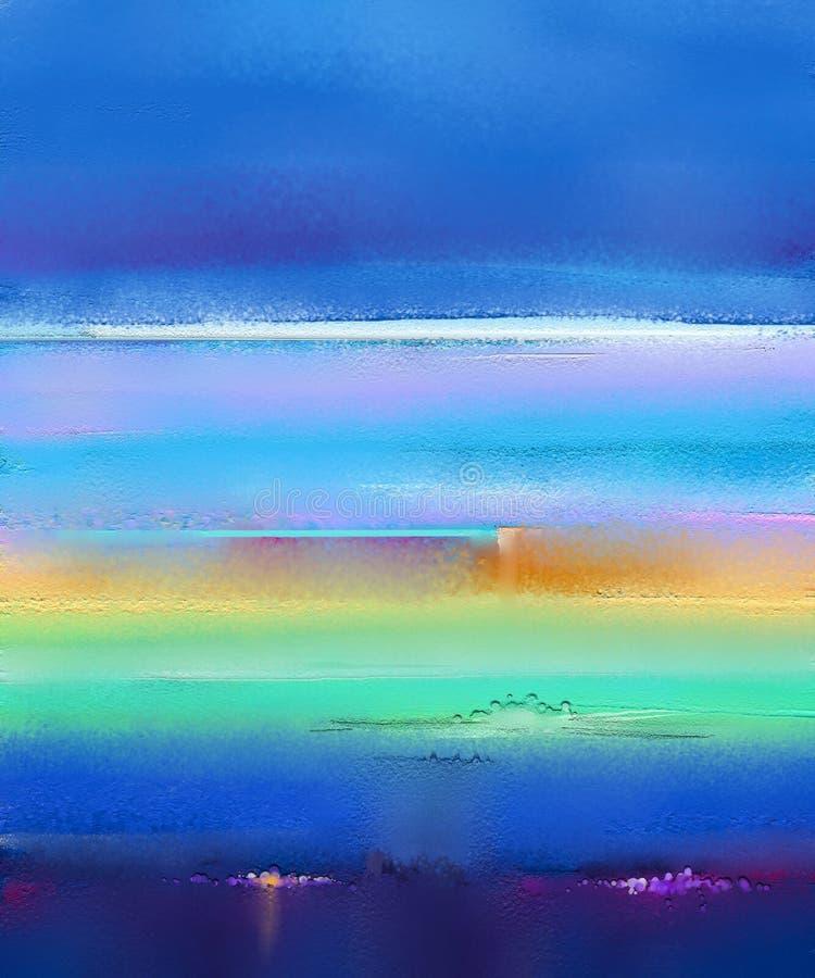 Moderne kunstolieverfschilderijen met geel, rood en blauw Abstracte eigentijdse kunst voor achtergrond royalty-vrije stock afbeeldingen