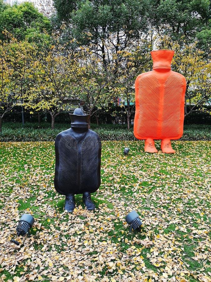 Moderne Kunstskulptur im Jingan City Sculptural Park in Shanghai China lizenzfreie stockfotografie