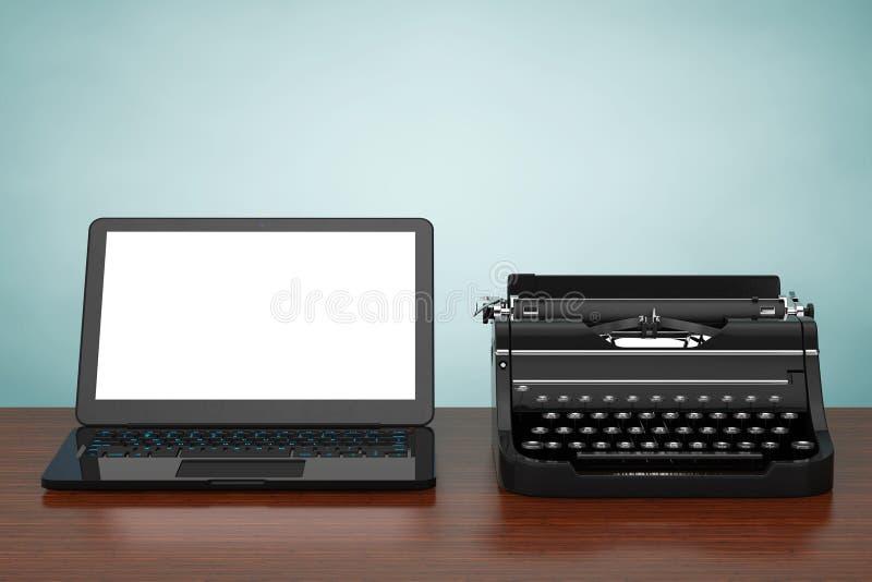 Moderne Laptop Computer met Antieke Schrijfmachine het 3d teruggeven stock illustratie