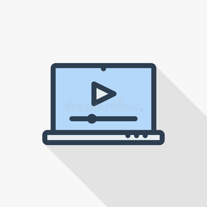 Moderne laptop met videospeler op het scherm Online video, horlogefilms, onderwijsmaterialen, de concepten van Webcursussen lang royalty-vrije illustratie