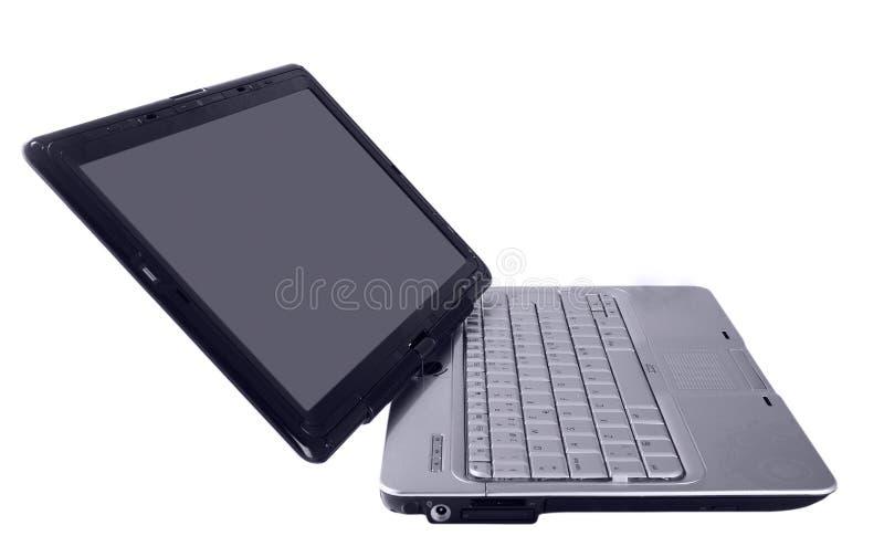 Moderne laptop met zilveren toetsenbord stock foto's