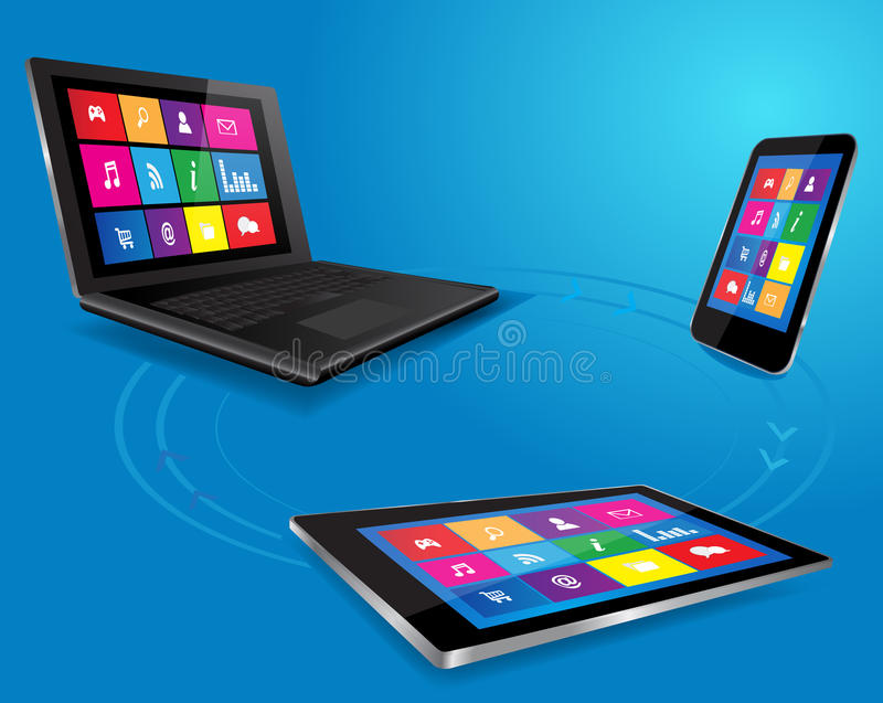 Moderne laptop, tablet en slimme telefoon stock illustratie