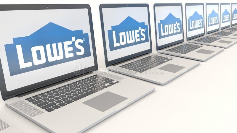 Moderne Laptops mit Lowe-` s Logo Wiedergabe des Computertechnologiebegriffsleitartikels 3D lizenzfreie abbildung