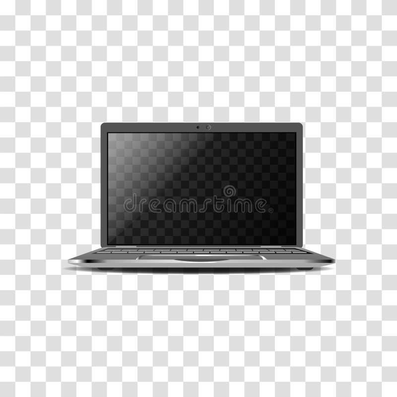 Moderne Laptops Realistisches Modell auf einem transparenten Hintergrund lizenzfreie abbildung