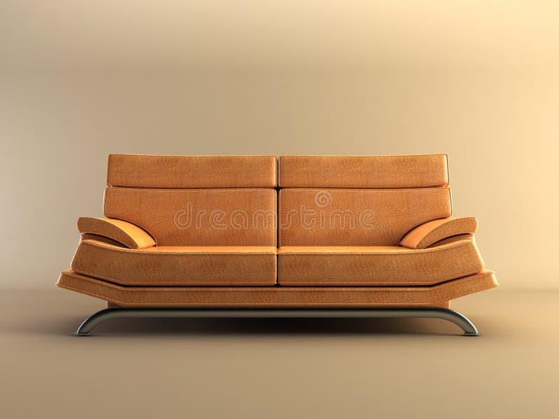 Moderne lederne Couch lizenzfreie abbildung