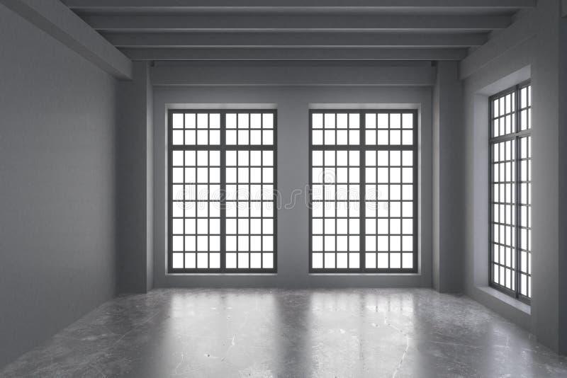Moderne lege zolderruimte met grijze muren, concrete vloer en groot stock afbeeldingen
