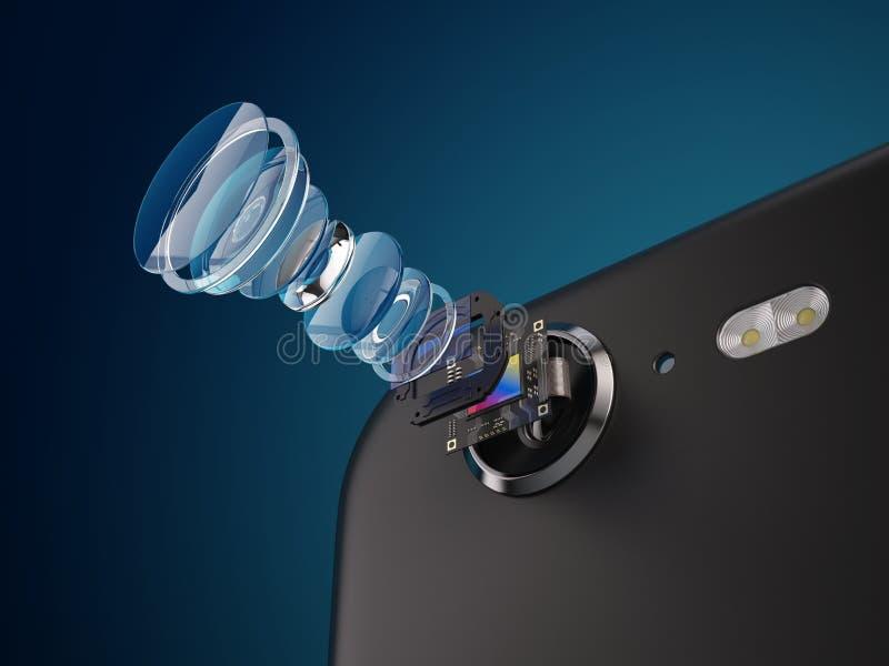 Moderne lens van de structuur van de smartphonecamera Nieuwe eigenschappen voor een concept van de smartphonecamera stock illustratie