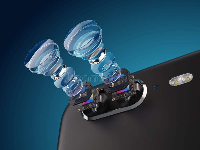 Moderne lens van structuur van de smartphone de dubbele camera Nieuwe eigenschappen voor een concept van de smartphonecamera vector illustratie