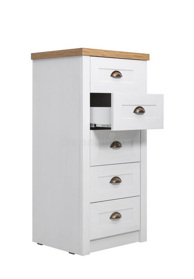Moderne lichte houten ladenkast op wit Meubilair voor garderoberuimte royalty-vrije stock afbeeldingen