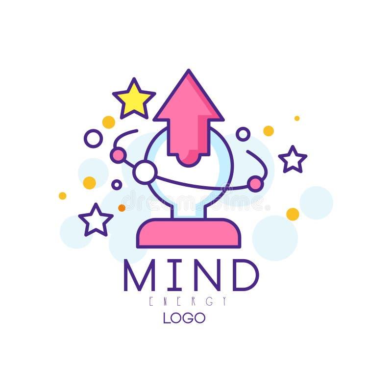 Moderne Linie Kunstlogo mit menschlichem Kopf, Pfeil und Sternen Sinnesenergie Konzept des Brainstormingprozesses, Kreativität vektor abbildung