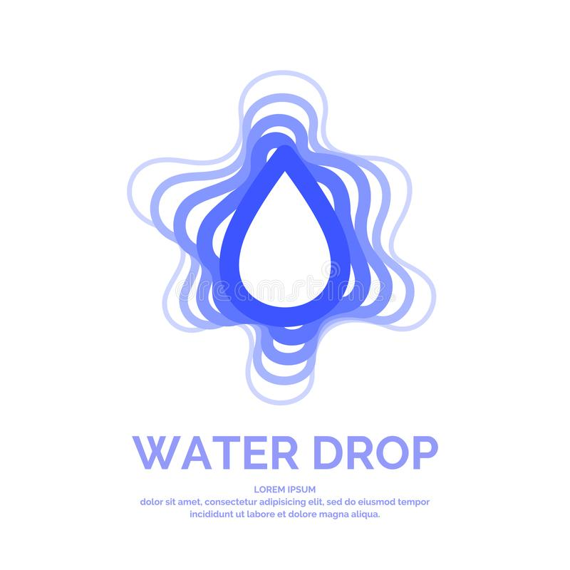 Moderne Linie Vektorlogo des Wassertropfens Illustration in einer minimalistic Art lizenzfreie abbildung