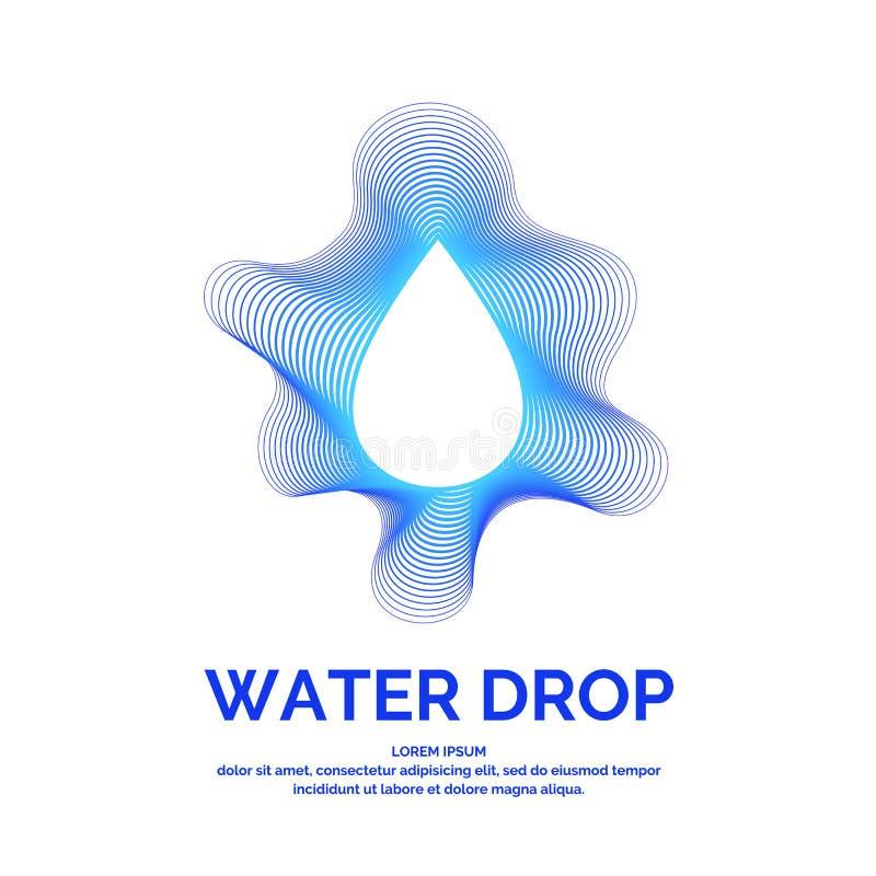 Moderne Linie Vektorlogo des Wassertropfens Illustration in einer minimalistic Art vektor abbildung