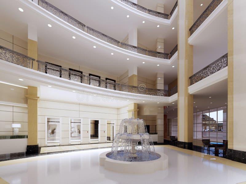 Moderne Lobby, Halle des Luxushotels, Einkaufszentrum, Geschäftszentrum Wiedergabe 3D Büroräume vektor abbildung