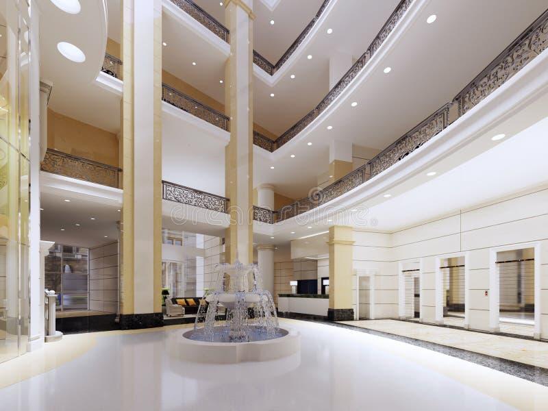 Moderne Lobby, Halle des Luxushotels, Einkaufszentrum, Geschäftszentrum Wiedergabe 3D Büroräume stock abbildung