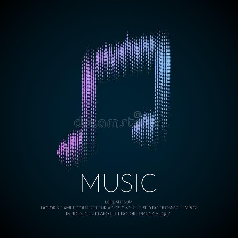 Moderne Logo- oder Emblemmusikanmerkung in Form von Entzerrer lizenzfreie abbildung