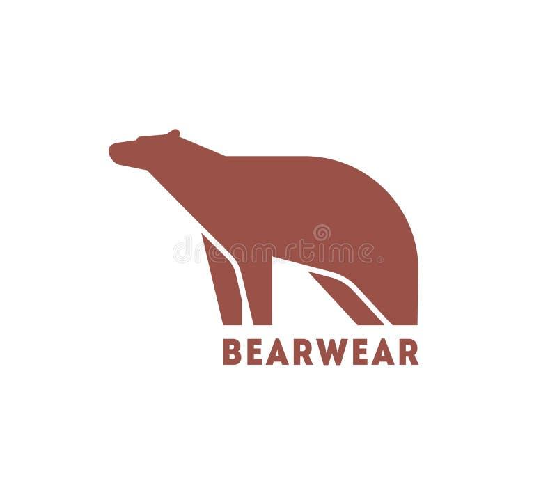 Moderne logotype met silhouet van beer Embleem met wild vleesetend dier voor collectieve identiteit, kledend merk vector illustratie
