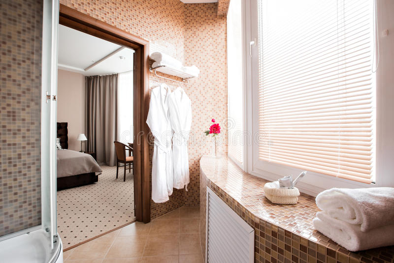 Moderne luxebadkamers met douchecabine en venster Binnenlands ontwerp royalty-vrije stock fotografie