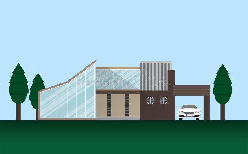 Moderne Luxushaus-Ausgangsdesign-Sport-Superauto-Gemeinschaftsstädtisches Stadt-Leben stock abbildung
