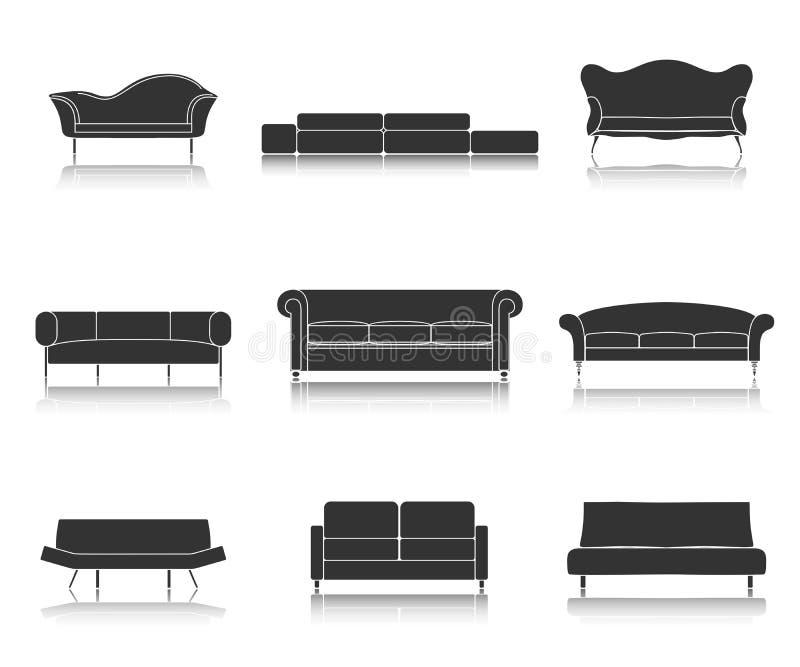 Moderne Luxussofa- und Couchmöbelikonen stellten für Wohnzimmervektorillustration ein stock abbildung