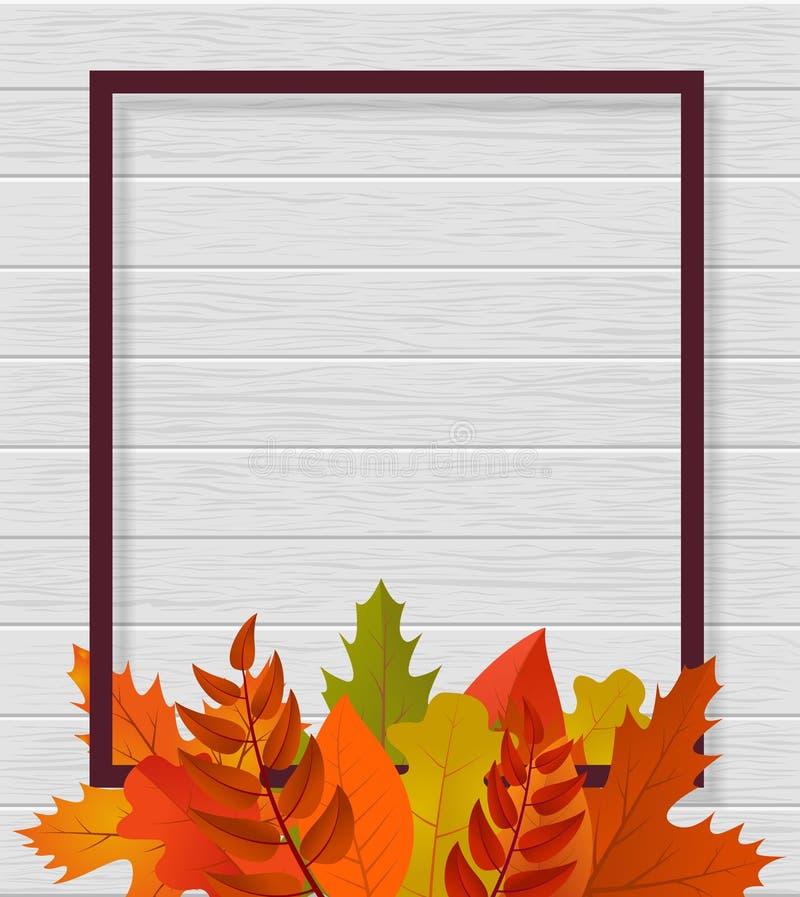 Moderne malplaatjeachtergrond voor website met kader, bladeren en hout Malplaatjemarkering Ontwerp voor sociale media, banner Vec royalty-vrije illustratie