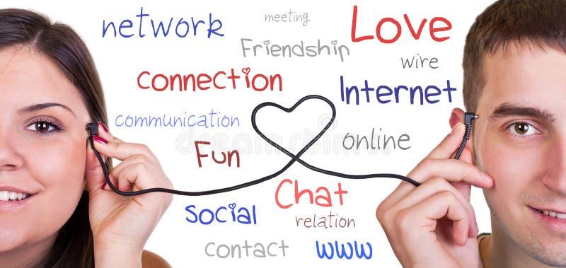 Moderne mededeling, online liefde stock foto