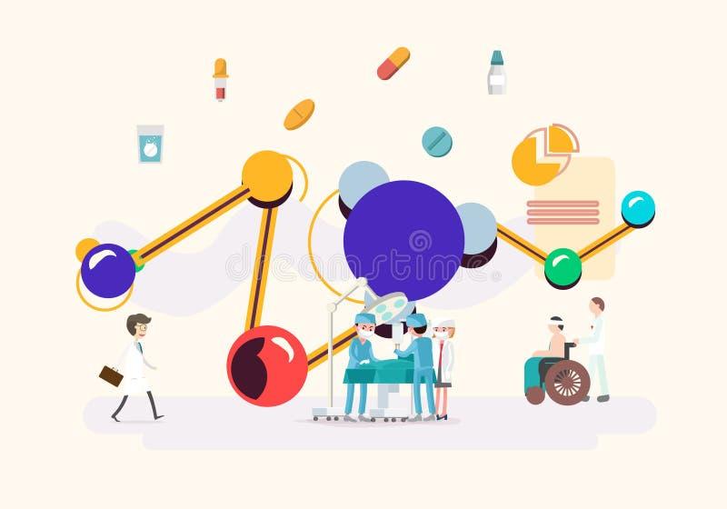 Moderne medisch met technologie vlakke vectorillustratie royalty-vrije illustratie