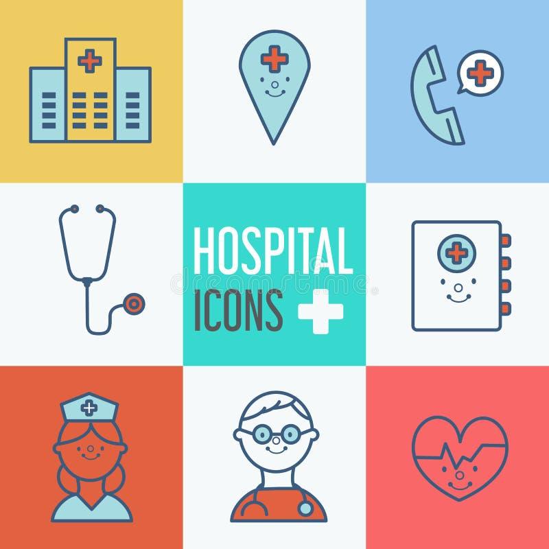 Moderne medische pictogramreeks illustrator royalty-vrije illustratie