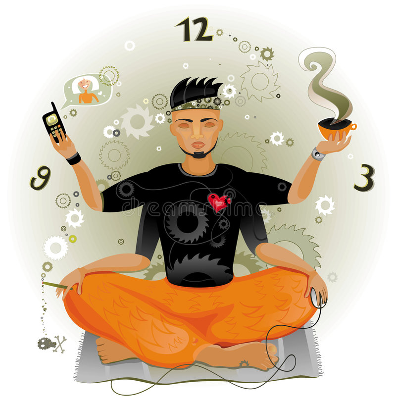 Moderne Meditatie. stock illustratie