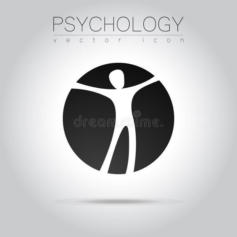 Moderne mens Logo Sign van Psychologie Mens in een cirkel Creatieve stijl Pictogram in vector vector illustratie