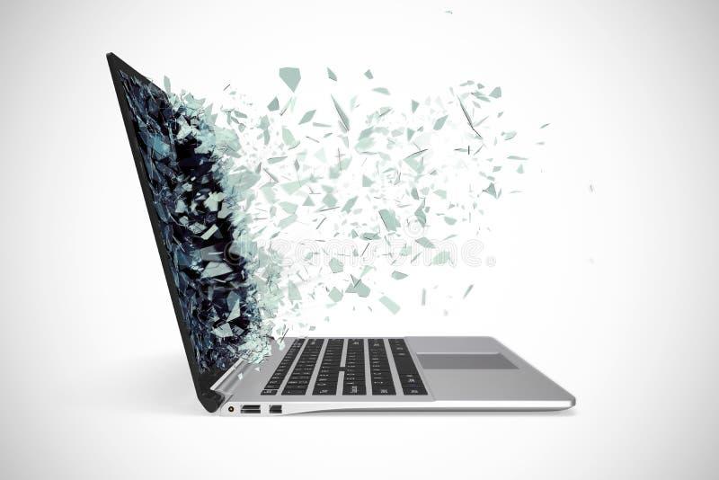 Moderne metaallaptop met het gebroken scherm dat op witte achtergrond wordt geïsoleerd 3D Illustratie stock afbeeldingen