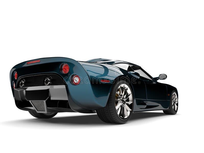 Moderne metallische zwei tonen Endstückansicht des niedrigen Winkels des tiefen blauen Supersports Motor- vektor abbildung