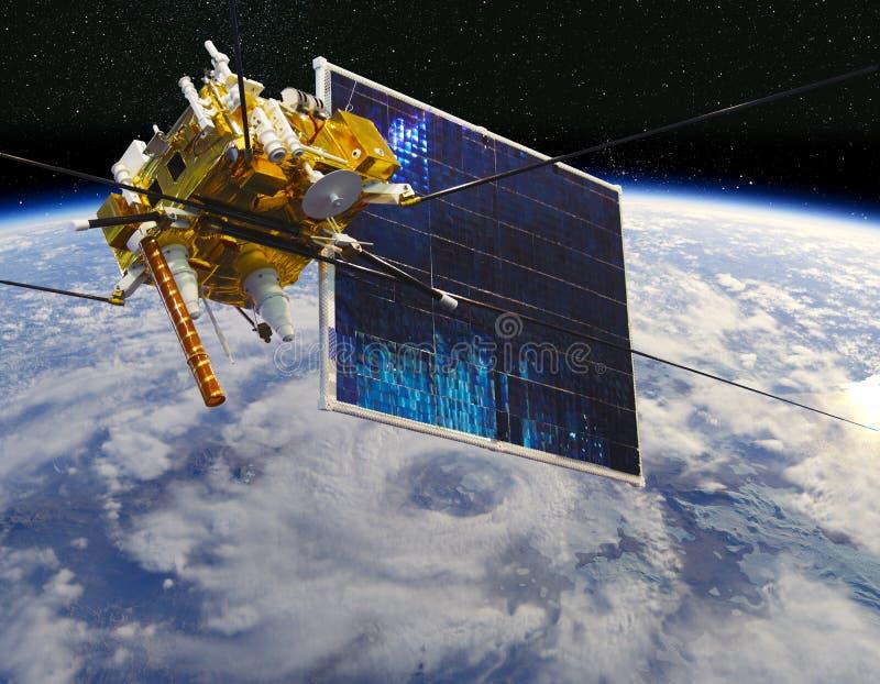 Moderne meteorologische satelliet bij de Aardebaan royalty-vrije illustratie